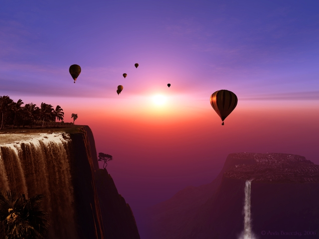 beautiful mountain view with hot air balloons