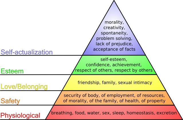 Maslow's hierarchy of needs and social wellbeing